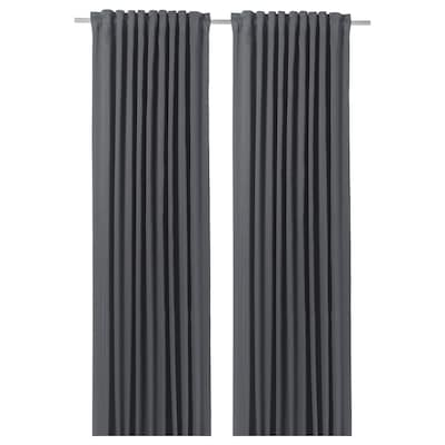 BLÅHUVA Block-out curtains, 1 pair, dark grey, 145x250 cm