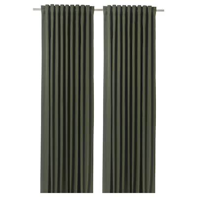 BLÅHUVA Block-out curtains, 1 pair, green, 145x250 cm