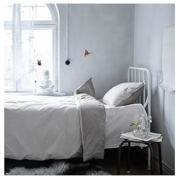 BLÅVINDA quilt cover and 2 pillowcases grey 200 /inch² 2 pack 200 cm 200 cm 50 cm 80 cm