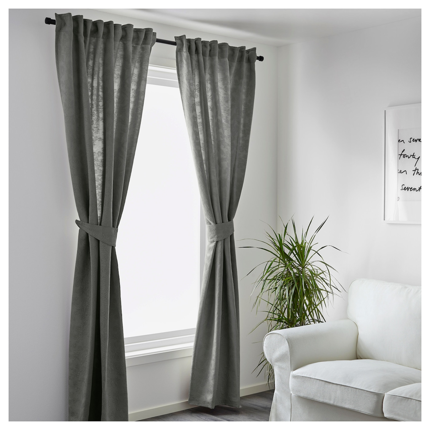 blekviva curtains with tie backs 1 pair grey 145x250 cm. Black Bedroom Furniture Sets. Home Design Ideas