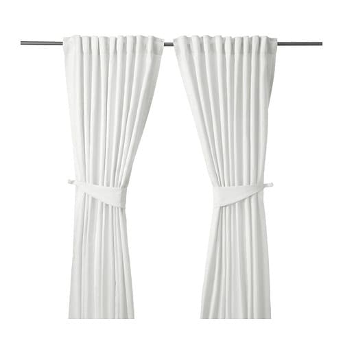 IKEA BLEKVIVA curtains with tie-backs, 1 pair