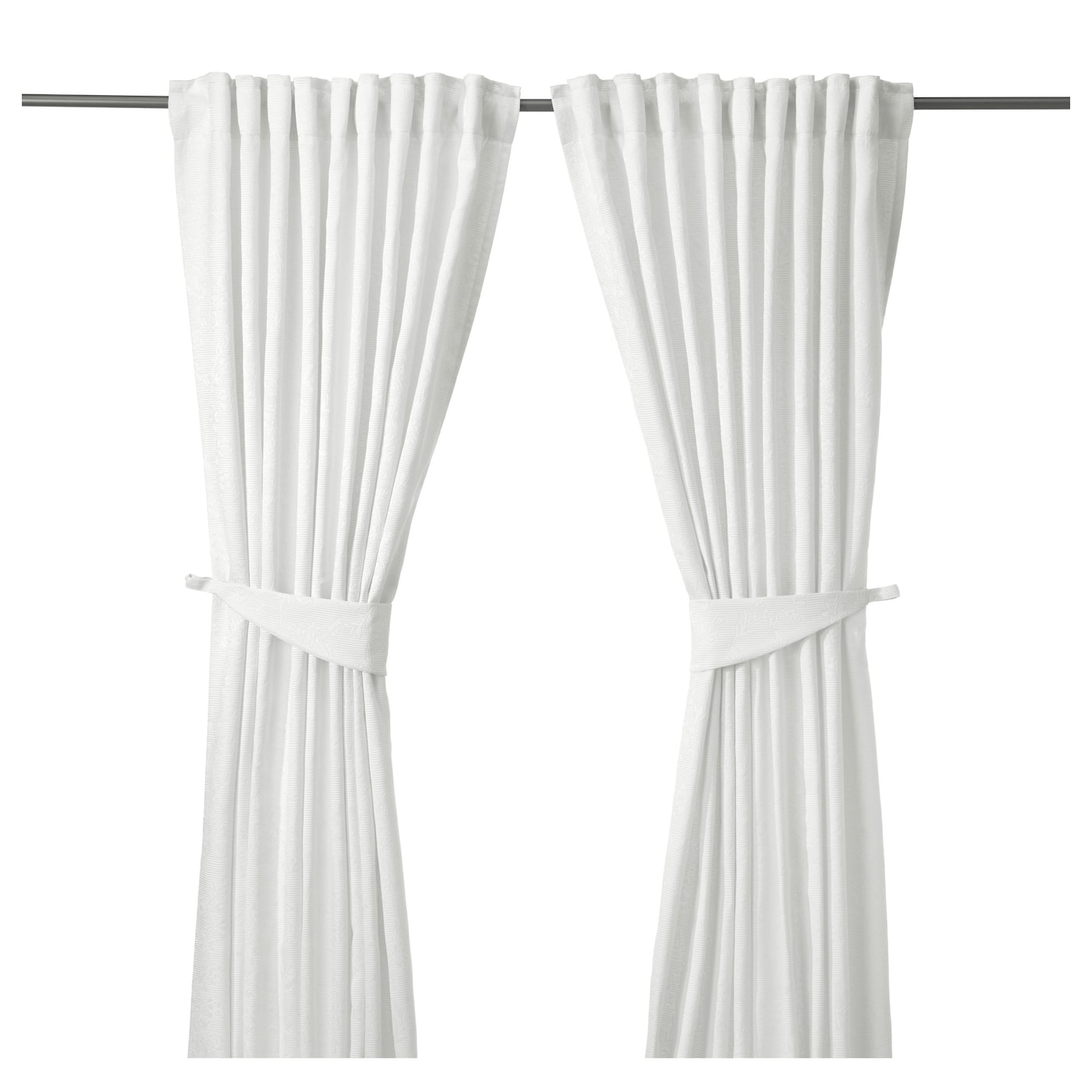 Blekviva curtains with tie backs 1 pair white 145x250 cm for White curtains ikea
