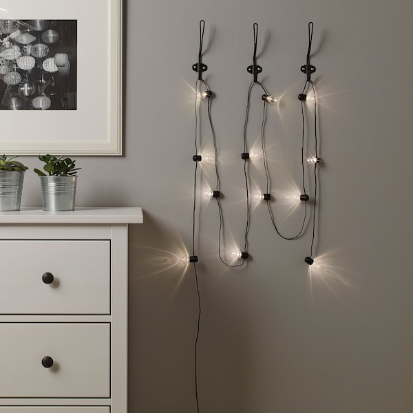 BLÖTSNÖ LED lighting chain with 12 lights indoor/battery-operated black 1.5 m 30 cm 0.15 W 4.8 m