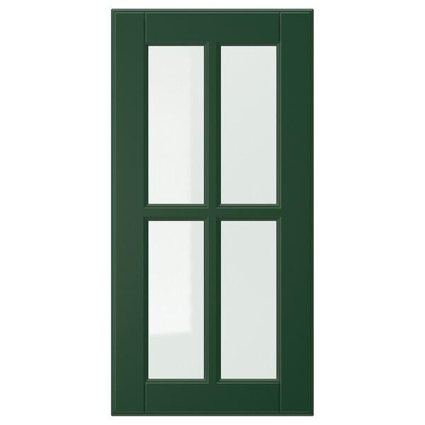 BODBYN Glass door, dark green, 30x60 cm