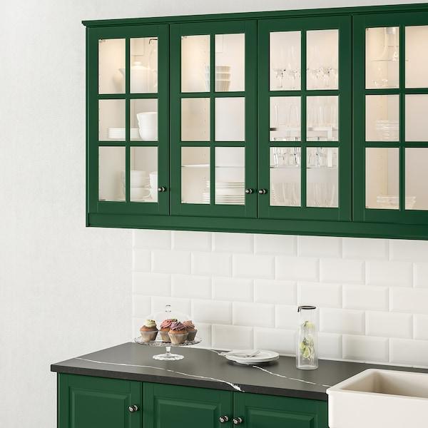 BODBYN Glass door, dark green, 40x100 cm