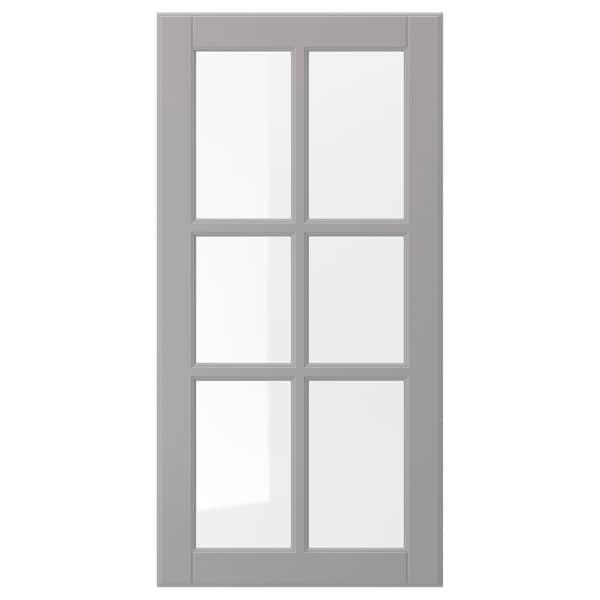 BODBYN Glass door, grey, 40x80 cm