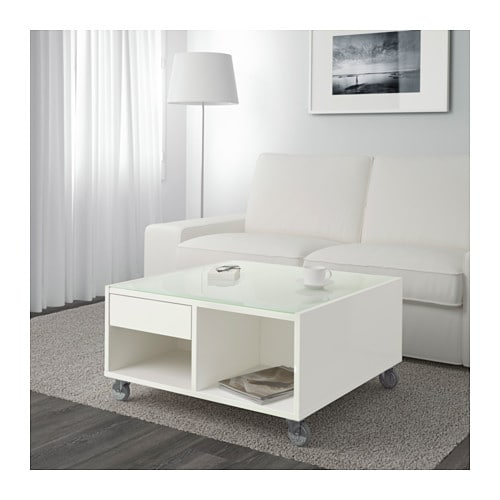 IKEA BOKSEL coffee table Top panel of tempered glass protects the surface from stains.