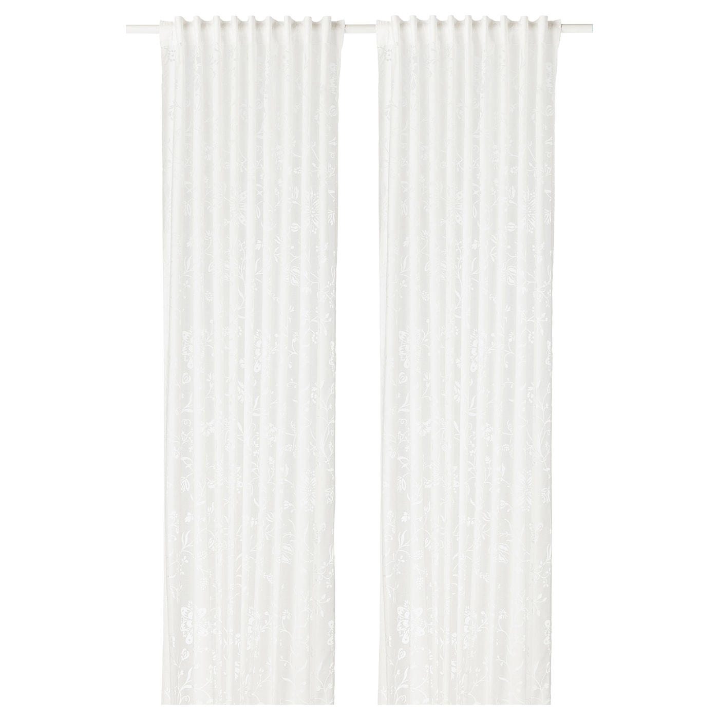 IKEA BORGHILD sheer curtains, 1 pair The curtains can be used on a curtain rod or a curtain track.