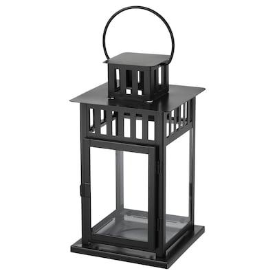 BORRBY lantern for block candle in/outdoor black 15 cm 15 cm 28 cm
