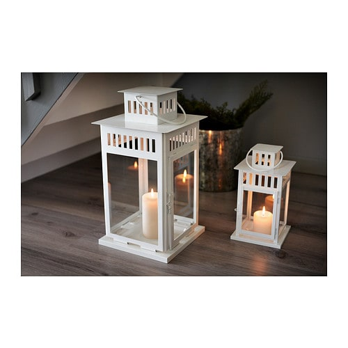 borrby lantern for block candle in outdoor white 44 cm ikea. Black Bedroom Furniture Sets. Home Design Ideas