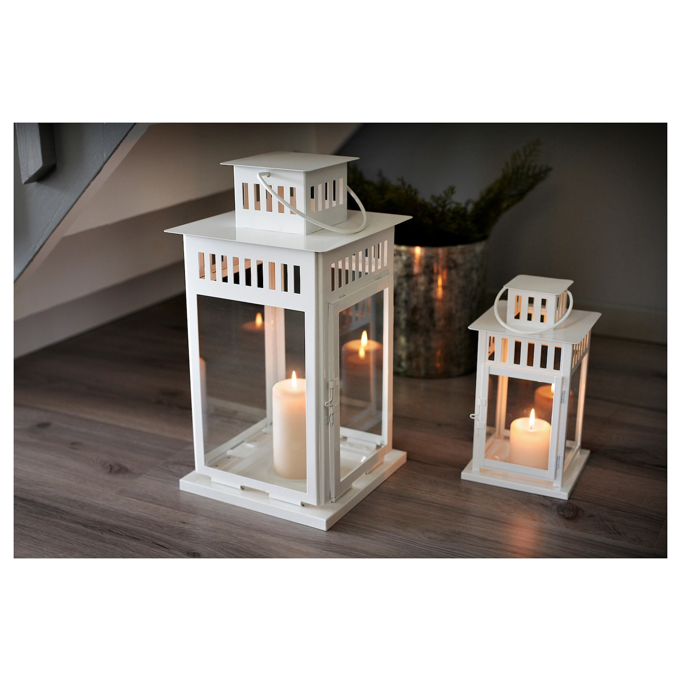 borrby lantern for block candle in outdoor white 28 cm ikea