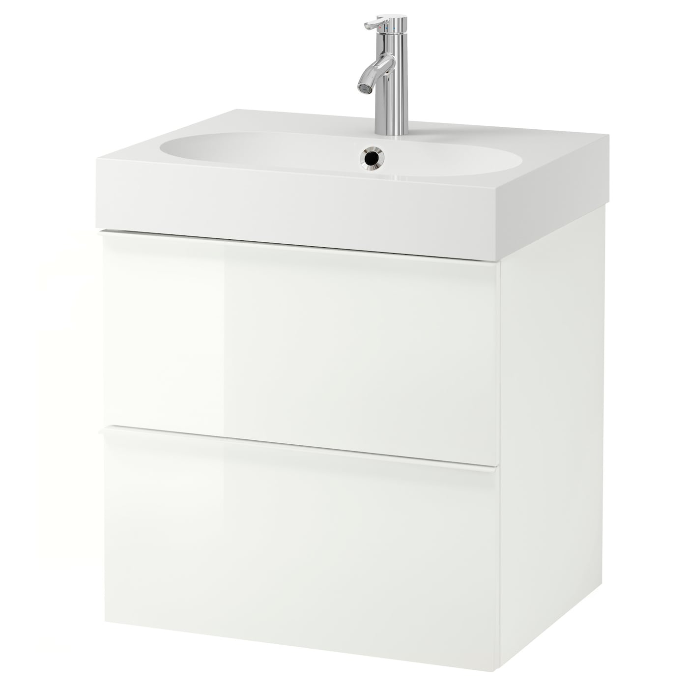 br viken godmorgon wash stand with 2 drawers high gloss white 60x49x68 cm ikea. Black Bedroom Furniture Sets. Home Design Ideas
