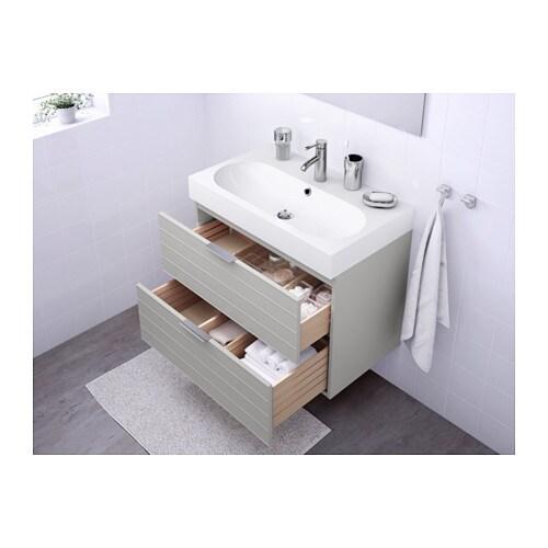 br viken godmorgon wash stand with 2 drawers light grey white 80x49x68 cm ikea. Black Bedroom Furniture Sets. Home Design Ideas