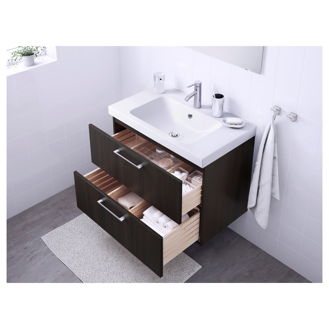 br viken godmorgon wash stand with 2 drawers white 60x49x68 cm ikea. Black Bedroom Furniture Sets. Home Design Ideas