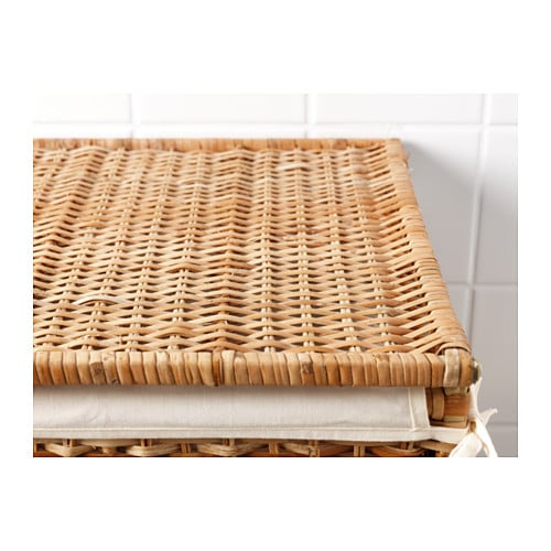 IKEA BRAN S laundry basket with lining The plastic feet protect the laundry  basket from moisture. BRAN S Laundry basket with lining Rattan 80 l   IKEA