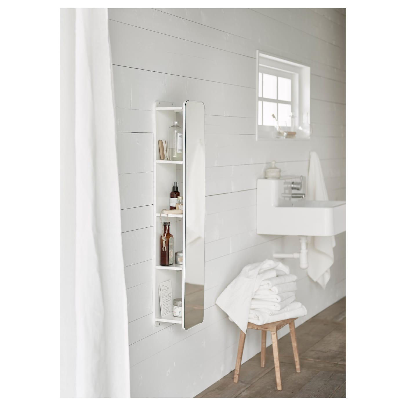 Brickan mirror with storage unit white 20x100 cm ikea ikea brickan mirror with storage unit amipublicfo Gallery