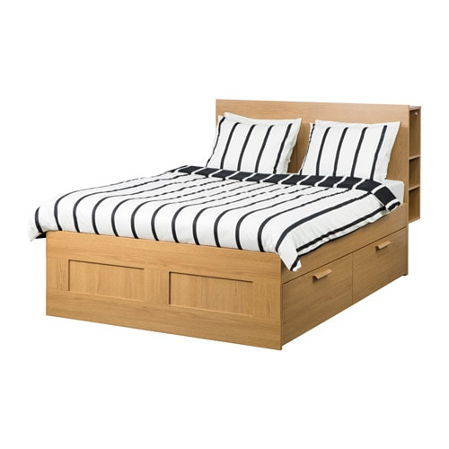 Brimnes Bed Frame W Storage And Headboard Oak Effectlury Standard