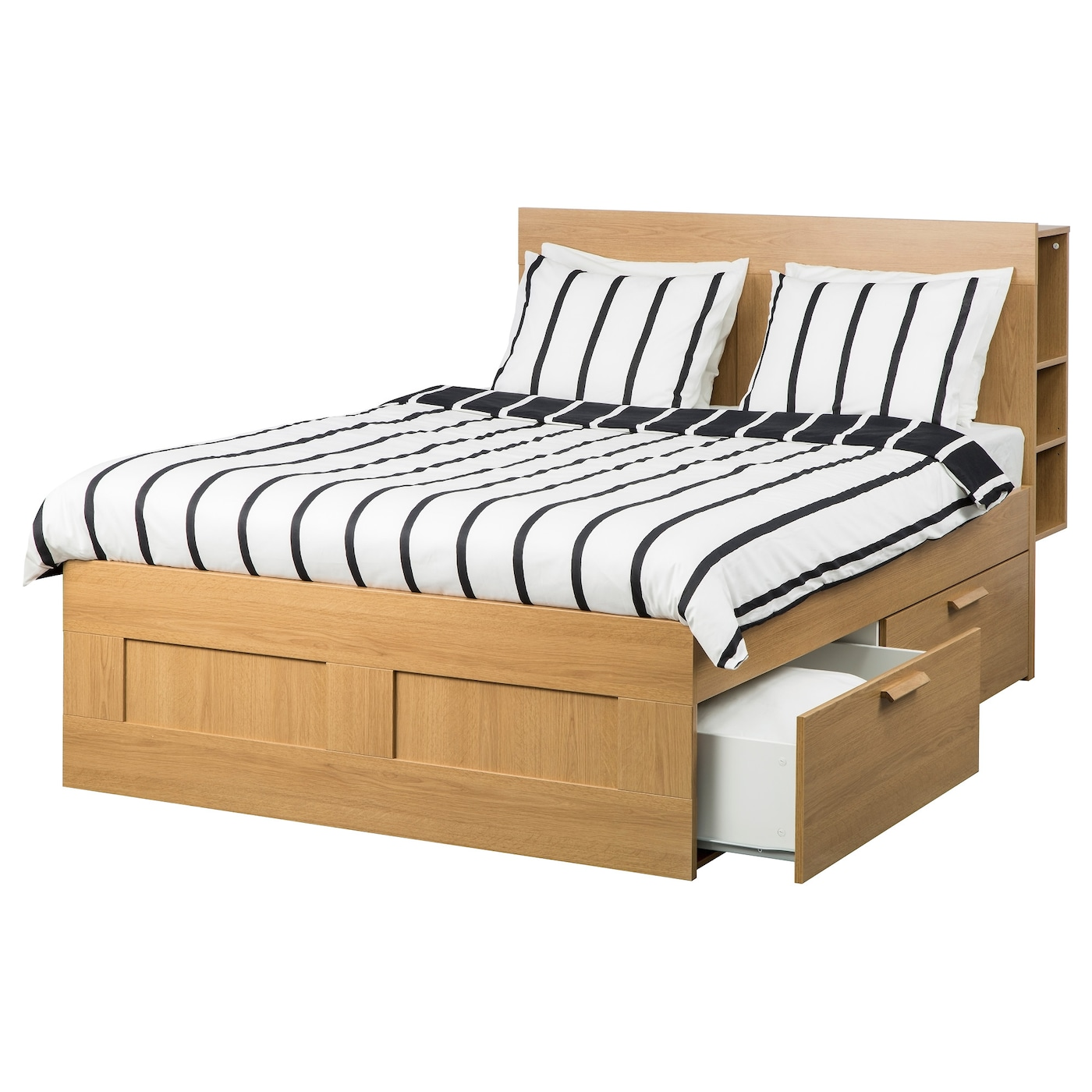 Brimnes bed frame w storage and headboard oak effect lur y for King size bed frame