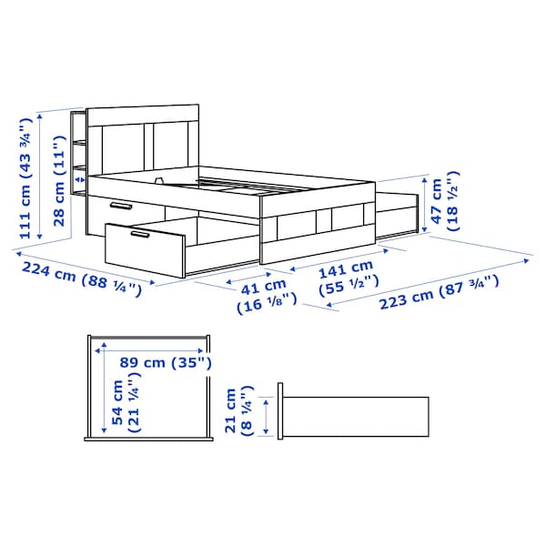 BRIMNES Bed frame w storage and headboard, oak effect/Luröy, Standard Double