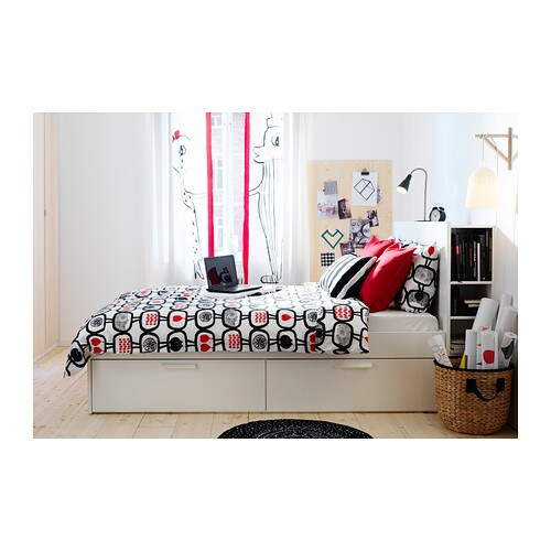 BRIMNES Bed frame w storage and headboard White lönset 160×200 cm IKEA