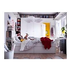 brimnes bed frame w storage and headboard white leirsund 180x200 cm ikea. Black Bedroom Furniture Sets. Home Design Ideas
