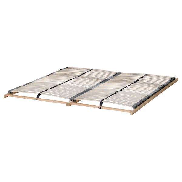 BRIMNES Bed frame w storage and headboard, white/Lönset, Standard Double