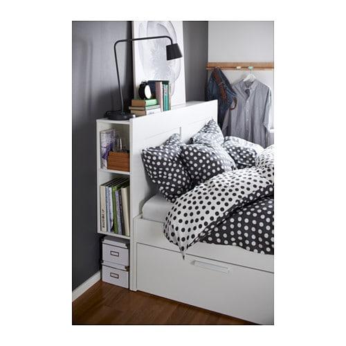 brimnes bed frame w storage and headboard white lur y. Black Bedroom Furniture Sets. Home Design Ideas