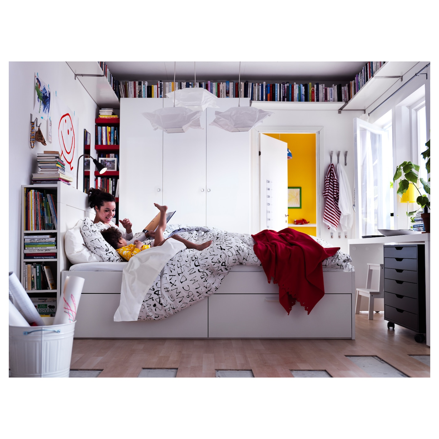 brimnes bed frame w storage and headboard white lur y 180 x 200 cm ikea. Black Bedroom Furniture Sets. Home Design Ideas