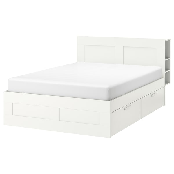 BRIMNES Bed frame w storage and headboard, white/Luröy, Standard Double