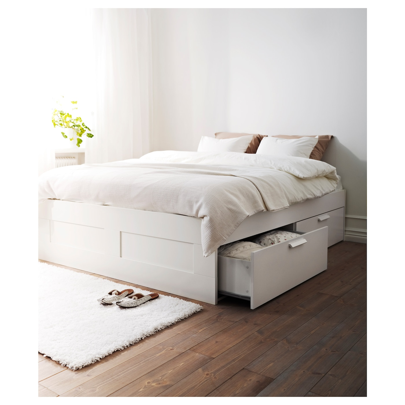 BRIMNES Bed frame with storage White luröy Standard King IKEA