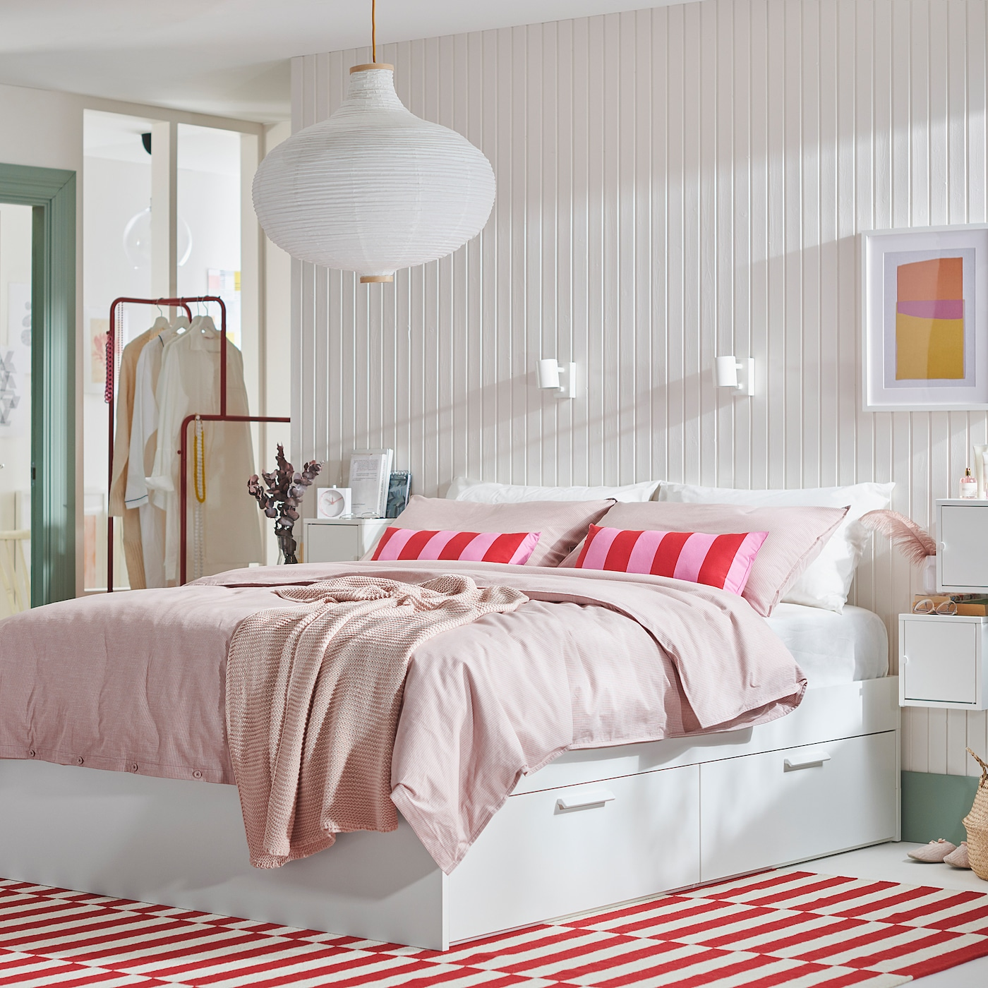 Brimnes White Luroy Bed With Storage Standard Double Ikea