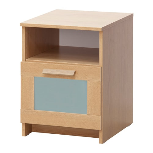 Brimnes Bedside Table Oak Effect Frosted Glass 39x41 Cm Ikea
