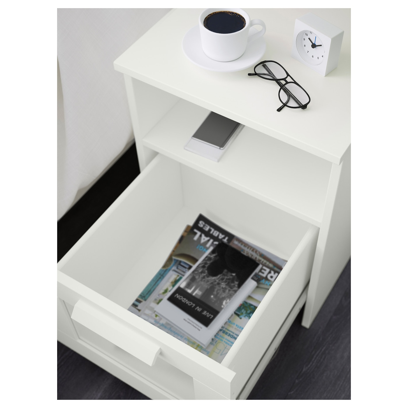 brimnes bedside table white 39x41 cm ikea. Black Bedroom Furniture Sets. Home Design Ideas