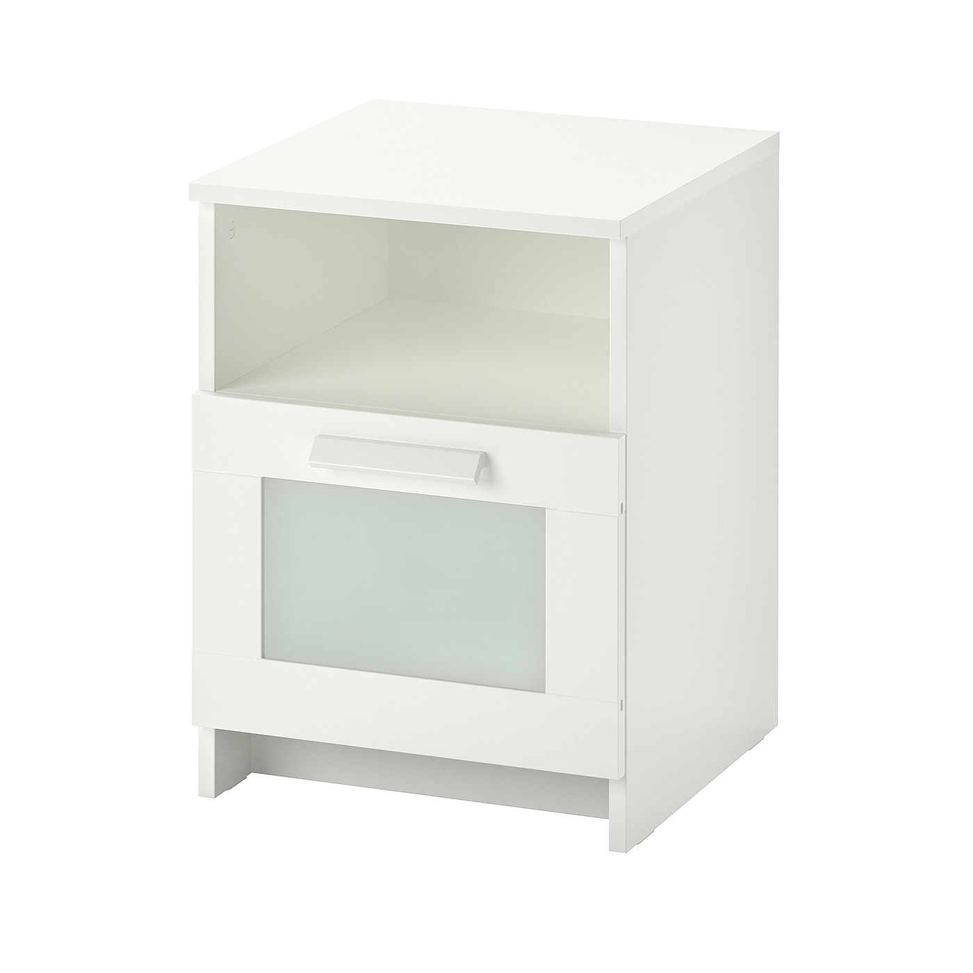 IKEA BRIMNES bedside table In the drawer there is room for an extension socket for your chargers.