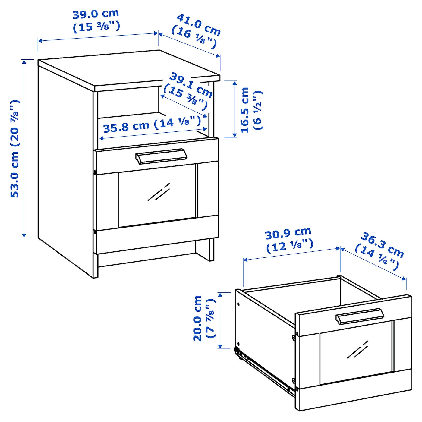 BRIMNES white, Bedside table, 39x41 cm