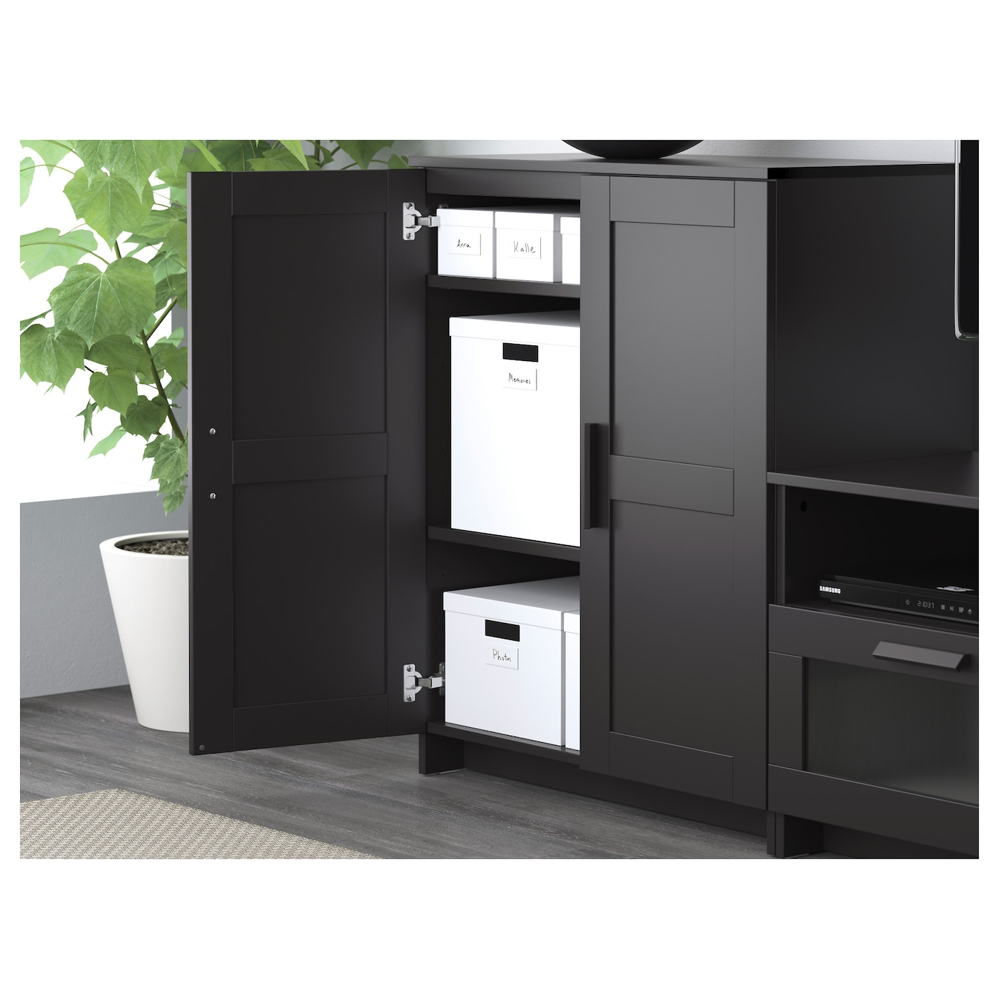 brimnes cabinet with doors black 78 x 95 cm ikea. Black Bedroom Furniture Sets. Home Design Ideas