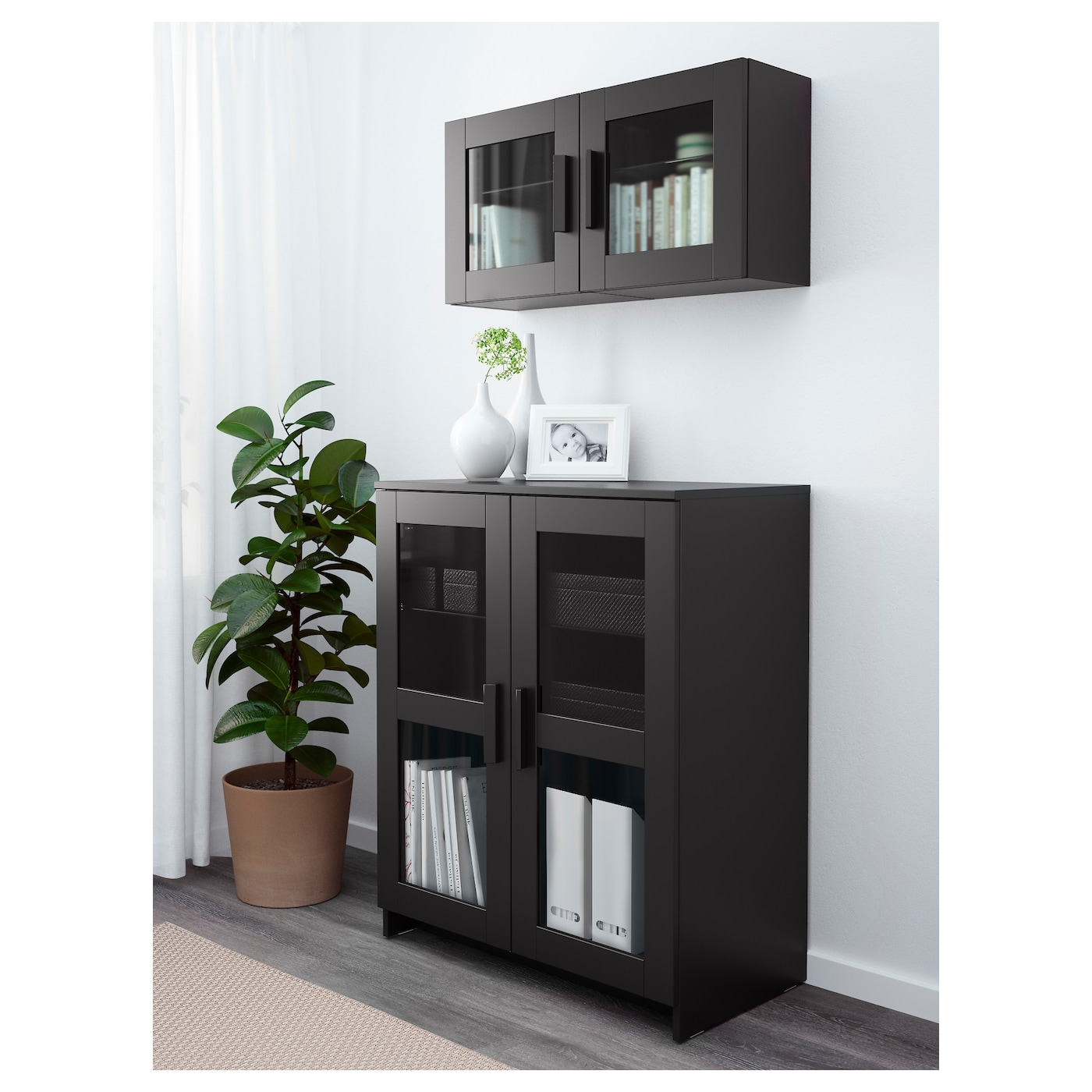 brimnes cabinet with doors glass black 78x95 cm ikea. Black Bedroom Furniture Sets. Home Design Ideas