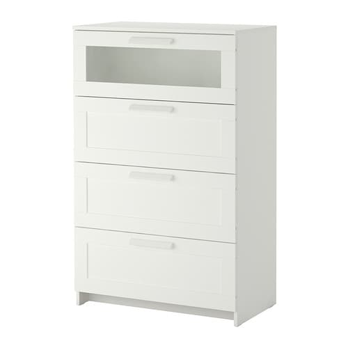 BRIMNES Chest of 4 drawers IKEA Smooth running drawers with pull-out stop.