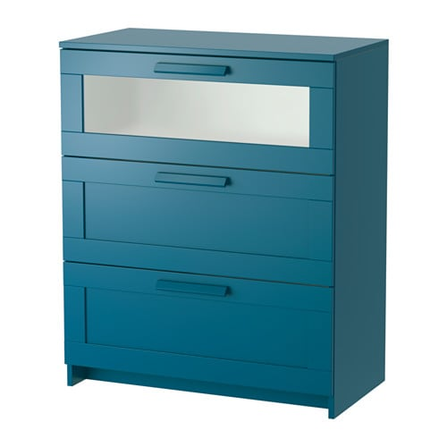 BRIMNES Chest of 3 drawers Dark green blue frosted glass 78×96 cm IKEA