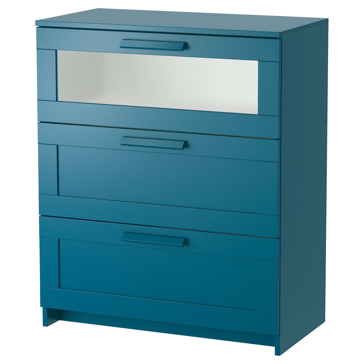 brimnes chest of 3 drawers dark green blue frosted glass. Black Bedroom Furniture Sets. Home Design Ideas