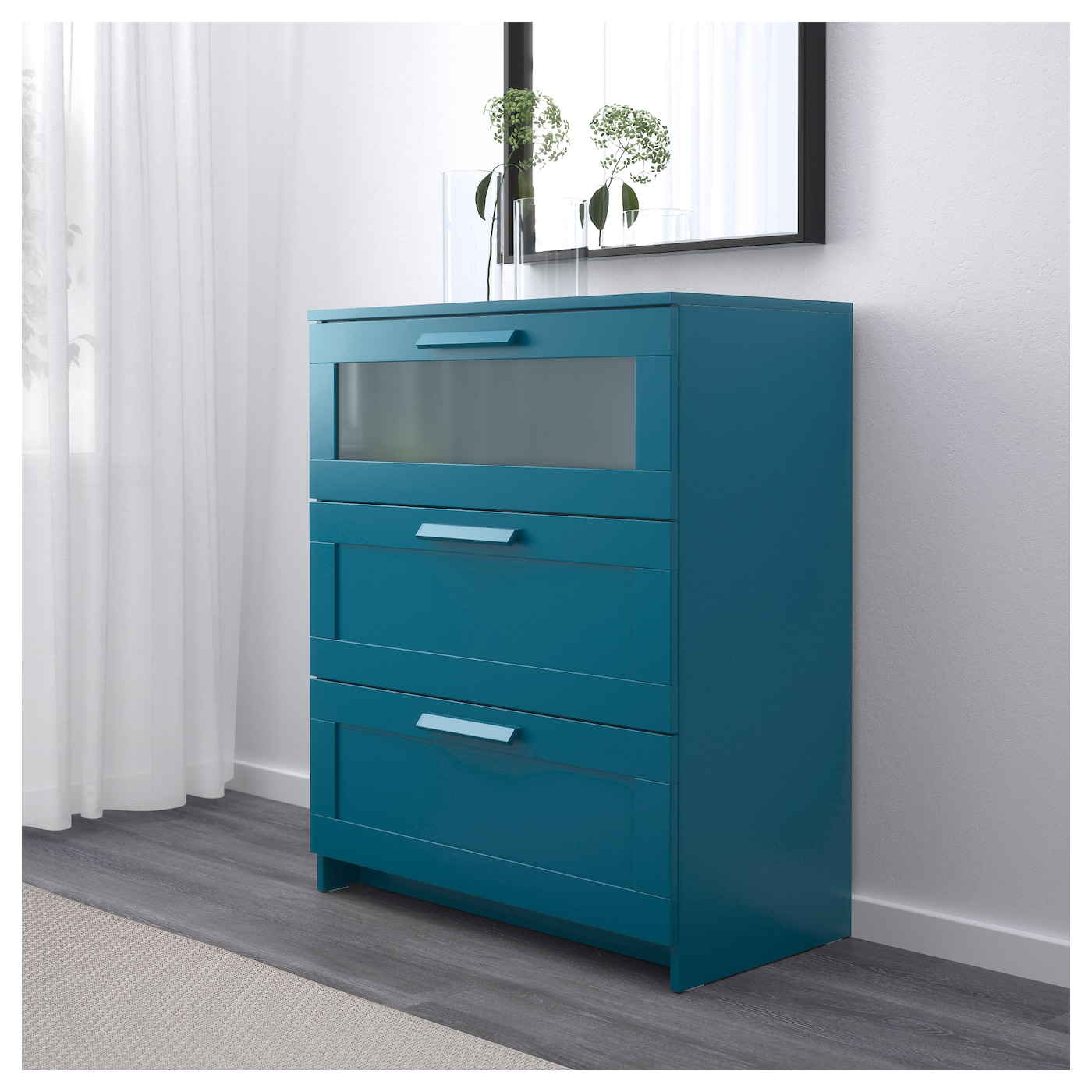 brimnes chest of 3 drawers dark green blue frosted glass 78x95 cm ikea. Black Bedroom Furniture Sets. Home Design Ideas