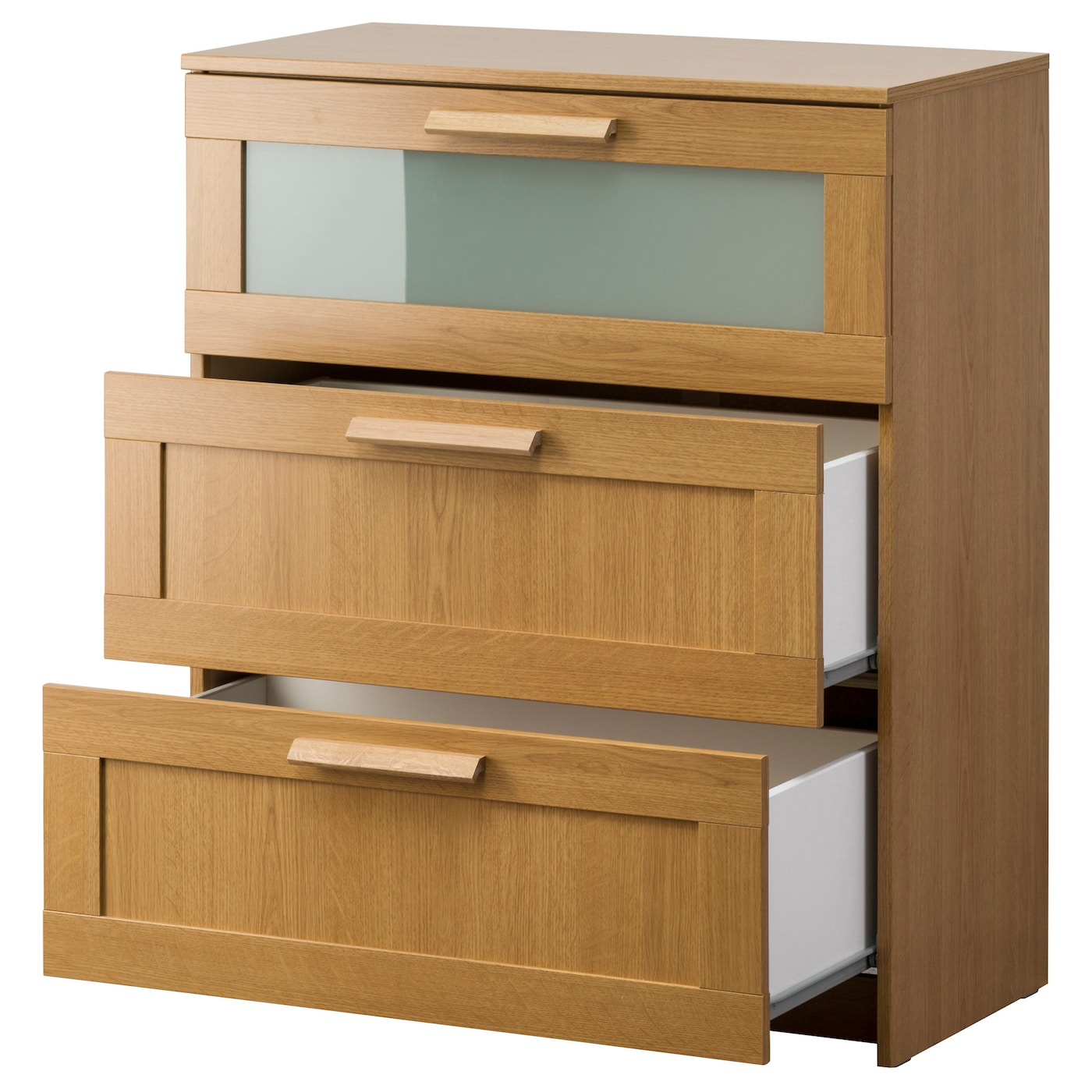 brimnes chest of 3 drawers oak effect frosted glass 78 x. Black Bedroom Furniture Sets. Home Design Ideas