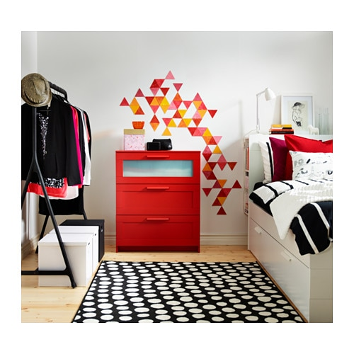 BRIMNES Chest of 3 drawers Red frosted glass 78×95 cm IKEA