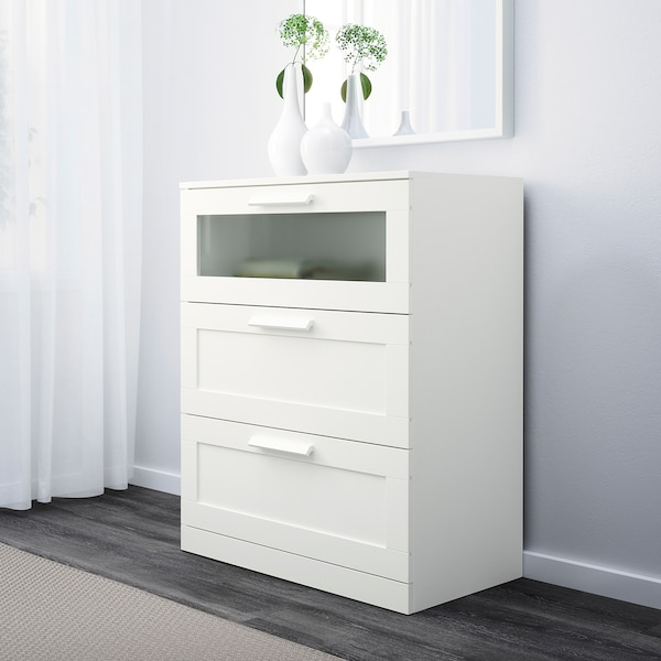 BRIMNES Chest of 3 drawers, white/frosted glass, 78x95 cm
