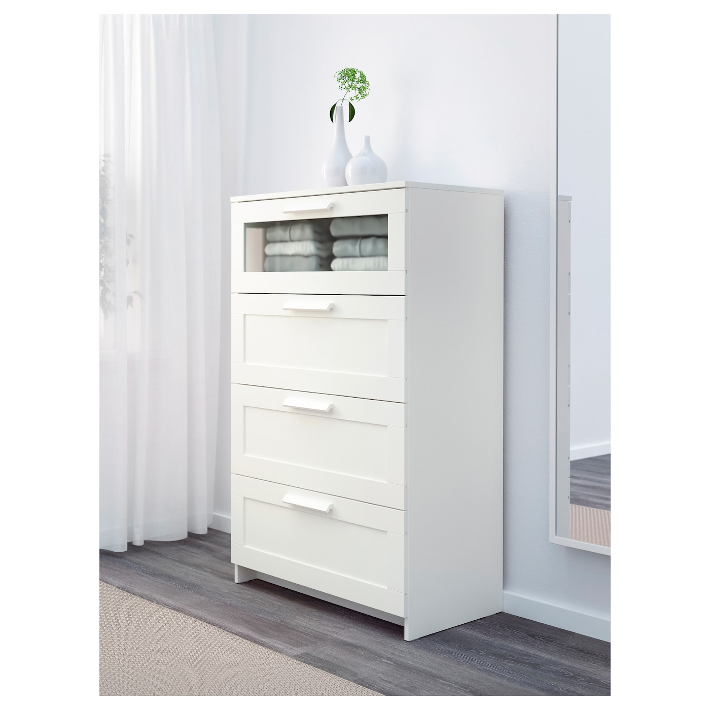 brimnes chest of 4 drawers white frosted glass 78x124 cm. Black Bedroom Furniture Sets. Home Design Ideas