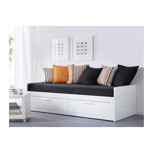 Brimnes day bed frame with 2 drawers white 80x200 cm ikea - Structure lit gigogne ...