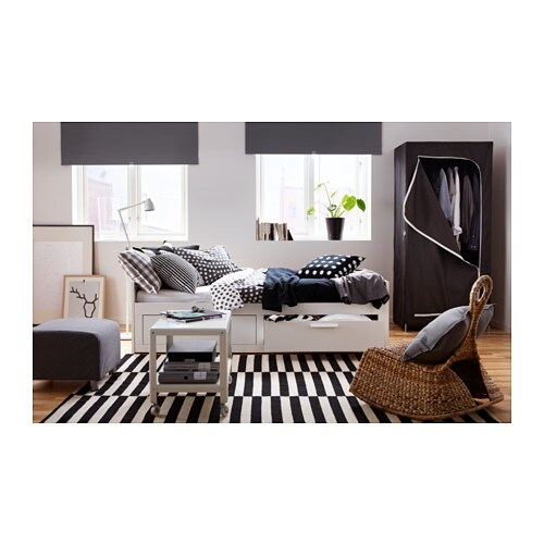 brimnes day bed frame with 2 drawers white 80x200 cm ikea. Black Bedroom Furniture Sets. Home Design Ideas
