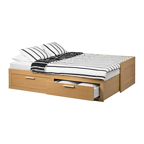 BRIMNES Day bed w 2 drawers 2 mattresses Oak effect malfors medium firm 80×200 cm IKEA