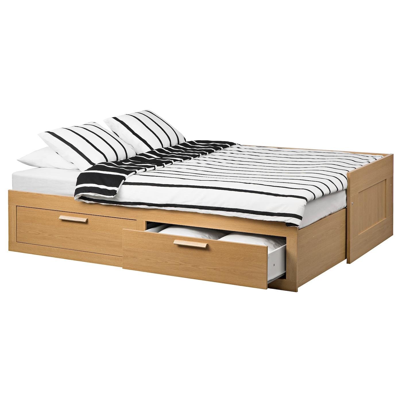 brimnes day bed w 2 drawers 2 mattresses oak effect moshult firm 80x200 cm ikea. Black Bedroom Furniture Sets. Home Design Ideas