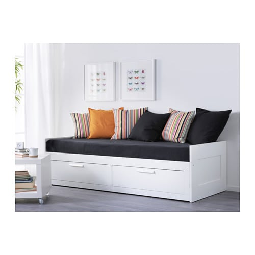 BRIMNES Day bed w 2 drawers 2 mattresses White malfors firm 80×200 cm IKEA